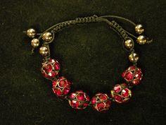 jewelry, bracelet, adjustable, red, gold, black, beads, thread, leather Visit:  http://www.gladisparkle.com
