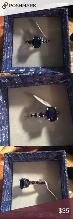 2.2 ct. Sapphire .925 Sterling Silver Ring Oval 2.2 carat sapphire 925 Sterling silver ring. New. Jewelry Rings