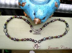 Never Too Soon...Holiday Burgundy Roses And Platinum Pearls....Gorgeous Tribal Rose... Swarovski Crystals & Pearl necklace...by jeantasia, $55.00