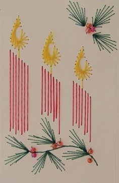 The Latest Trend in Embroidery – Embroidery on Paper - Embroidery Patterns Embroidery Cards, Christmas Embroidery Patterns, Hand Embroidery Patterns, Vintage Embroidery, Ribbon Embroidery, Diy Christmas Cards, Xmas Cards, Holiday Crafts, Prim Christmas