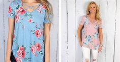 These criss cross tunic tops are a favorite and now it's available in Floral! Only $19.99! ad