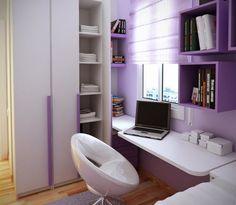 petite chambre ado aux accents violets avec bureau et armoire de rangement