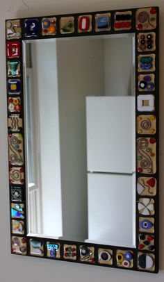 Stained Glass Fused Glass Mosaic Mirror Gold by GlassArtsStudio, $275.00