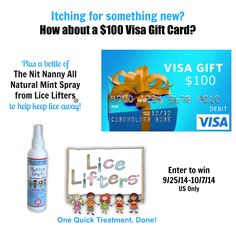 $100 Visa Gift Card & Mint Spray Giveaway Open to: United States  Ending on: 10/07/2014