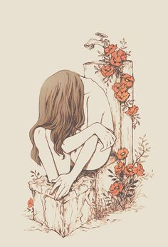 "soltreis: ""your blood is light yet your head and feet are heavy who dreamed on your shoulder? will I dream the same dream if I lean on your spine? "" Sadness, water overflowing, and orange-red flowers."