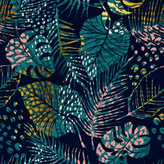 Trendy Seamless Pattern With Tropical Plants, Animal Prints And Hand Drawn Textures. - - Discover thousands of Premium vectors available in AI and EPS formats. Poster Print, Retro Poster, Textures Patterns, Print Patterns, Adobe Illustrator, Illustrator Tutorials, Tropical Pattern, Motif Floral, Floral Prints