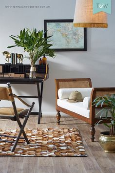 How to create a relaxed, elegant interior featuring colonial / plantation / tropical style, by Amanda Cameron-Lennon of Sentosa Designs. Styled here by @Adam Powell, photography by Denise Braki.