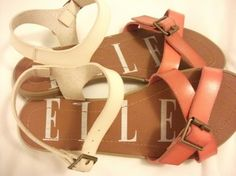 Ellie Shoes Flats Size 6m Burnt orange / white / tan Sandals