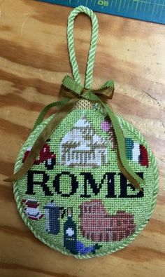 Needlepoint Rome ornament from Kirk & Bradley