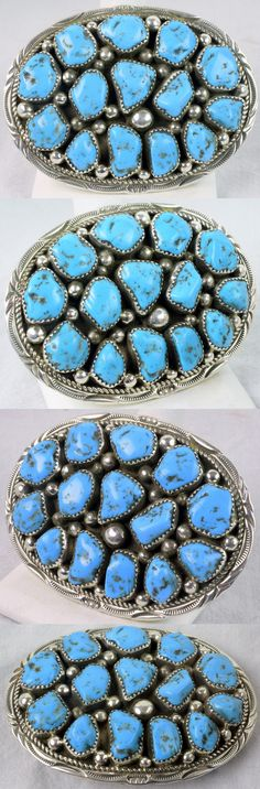 Other Native American Jewelry 11315: Navajo Belt Buckle Turquoise Nugget Style, Sterling Native American -> BUY IT NOW ONLY: $255.0 on eBay!