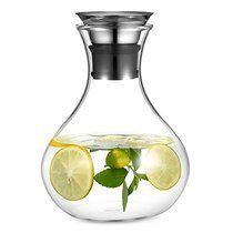 Ecooe Glaskrug 1,5 Liter Glaskaraffe Wasserkrug mit Edelstahl Deckel Karaffe Glaskanne