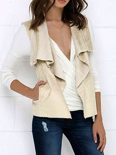 Beige Suedette Waterfall Front Cashmere Lining Waistcoat