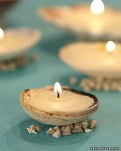 Seashell Candles. Melt wax in a double boiler and simply pour into a sea shell. This tutorial looks like you can make your candle float by having a small amount of water in the shell when re-pouring the wax. I guess it depends on whether you are in the mood for a floating candle or a solid candle.