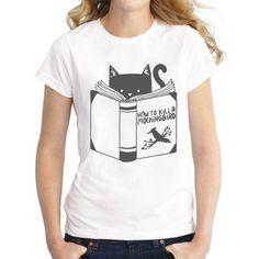 Hot Sales 2016 Newest fashion How to Kill a Mockingbird design women t-shirt short sleeve cat reading retro printed tops Tee