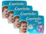 Kit Fraldas Capricho Baby Tam P 4 Pacotes - com 30 Unidades Cada Indicador de Umidade