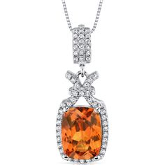 MSRP: $279.99    Our Price: $139.99    Savings: $150.00          Availability: Usually Ships in 5 Business Days    Product Code: SP10976         PRODUCT DESCRIPTION:      Crafted in Fine Sterling Silver, this beautiful pendant for her features an intricate, vintage design with a Lab-Created Padparadscha Sapphire perfectly framed by a halo of sparkling white Cubic Zirconia. This Pendant features exceptional design, craftsmanship and finishing. Perfect gift for Mothers Day, Birthdays…