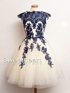 A-line Lace Short Prom Dresses, Homecoming Dress, Bridesmaid Dress