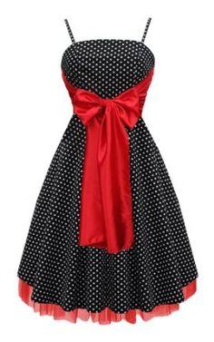 Black Butterfly Large Bow Polka Dot Retro 50S 60S Rockabilly Swing Prom Dress: Amazon.co.uk: Clothing