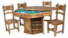 Rustic Poker Table Solid Wood Green Felt Western Chip Slots Western Drink Holder