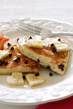 Chocolate chip banana pancakes #lowfat #healthy