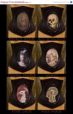 Custom Cameo Corset Choose from 15 images by Louise Black - skull, death-head moth, skeleton deer, anatomical...
