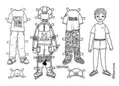Karen`s Paper Dolls: Nicklas 1-3 Paper Doll to Colour. Nicklas 1-3 påklædningsdukke til at farvelægge.