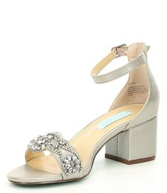Dress Shoes Bridesmaid Shoes Flats New Blue by Betsey Johnson Mel Bejeweled Satin Block Heel Dress Flat Dress Shoes, Fancy Shoes, Dress And Heels, Dress Sandals, Silver Wedding Shoes, Beach Wedding Shoes, Wedding Heels, Bride Shoes, Prom Shoes