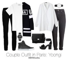 Couple Outfit in Paris: Yoongi by btsoutfits on Polyvore featuring polyvore fashion style H&M ASOS Aspinal of London Topman Hood by Air Supra Emporio Armani clothing