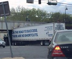 """Get the Message?   I know what it says on the truck, but the real lesson is not about """"looking for shortcuts"""". It's about:  EXECUTION  That takes practice, learning from your failures, and the support of a good coach.   @ywnh we want you to believe what we believe. Subscribe at www.yourwellnessnhealth.com."""