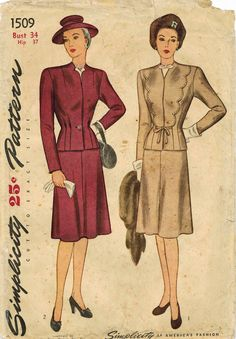 1940s Simplicity 1509 FF Vintage Sewing Pattern Women's Two-Piece Suit Size 34 Bust 34, Size 36 Bust 36 di midvalecottage su Etsy https://www.etsy.com/it/listing/237903176/1940s-simplicity-1509-ff-vintage-sewing