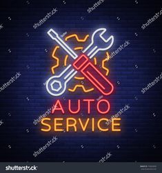 Vector illustration, car repair, shiny signboard for garage for auto repair. A flaming banner, a nightly bright signboard ad for your projects Carros A Diesel, Neon Stock, Car Logo Design, Neon Logo, Go Car, Car Logos, Auto Service, Car Shop, Car Wash