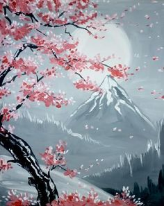 We host painting events at local bars. Come join us for a Paint Nite Party! Night Painting, Abstract Art Painting, Art Painting, Japanese Art, Tree Painting, Painting, Canvas Art, Cherry Blossom Painting, Beautiful Art