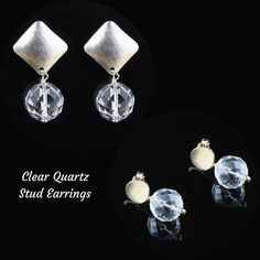 Clear quartz stud earrings... with gold filled or fine silver... perfect to wear from day to night...
