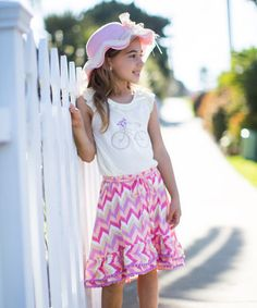 Another great find on #zulily! White & Pink Water Colors Blouse & Skirt - Girls by Trish Scully Child #zulilyfinds