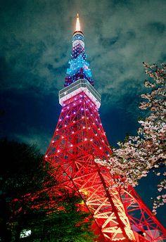日本东京铁塔夜景。真美。