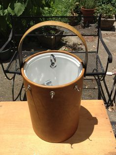 Ice Bucket Georges Briard Tan Faux Leather by wasminenowyours on Etsy