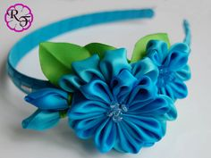 Kanzashi flower blue flowers Headband Kanzashi by RainOfFlowers