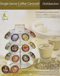 Single Serve Coffee Carousel for 24 Keurig K-cups with Condiment Tray >>> Save this wonderfull product : K Cups