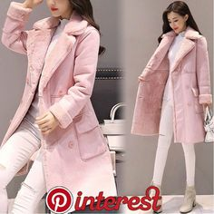Women Suede Lamb Wool Warm Long Coat Lapel Collar Double Breasted Outwear Jacket – MY World Kpop Fashion Outfits, Girls Fashion Clothes, Korean Outfits, Kids Clothing, Stylish Dress Designs, Stylish Dresses, Stylish Outfits, Winter Mode Outfits, Winter Fashion Outfits