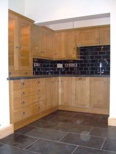 Kitchen Tiles For Oak Kitchen kitchen black tiles natural oak - google search | new kitchen