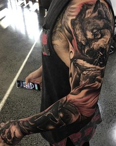101 Best Sleeve Tattoos For Men: Cool Designs + Ideas Guide) - Cool Arm Full Sleeve Tattoo Ideas For Guys - Best Full Arm Sleeve Tattoos For Men: Cool Sleeve Tattoo Designs and Ideas - Wolf Tattoo Sleeve, Tribal Sleeve Tattoos, Best Sleeve Tattoos, Tattoo Sleeve Designs, Body Art Tattoos, Tattoo Arm, Tatoos, Trendy Tattoos, Tattoos For Guys