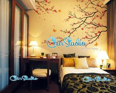 Cherry blossom tree wall decals with butterfly wall by ChinStudio