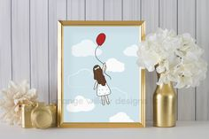 The Girl with the Red Balloon  (2AOWD13a) Two sizes included 16x20 and 8x10 included, Red Balloon Art Printable Instant Download by OrangeWillowDesigns on Etsy