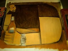 Drunk at Bar 16x24 Abstract Cubism Painting Tommervik