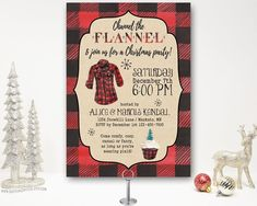 Channel the Flannel Buffalo Plaid Christmas Party Invitation, Holiday Party Invite, Rustic, Open House, cocktail party. Christmas Cocktail Party, Christmas Party Themes, Christmas Cocktails, Holiday Parties, Holiday Fun, Xmas Party, Christmas Goodies, Holiday Ideas, Christmas Dinner Invitation