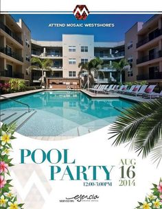 Mosaic Westshore Pool Party will be filled with amazing Hawiian food, drinks, music and giveaways.  Mosaic Westshore www.mosaicwestshore.com 813-287-6400 Hawiian Food, Giveaways, Mosaic, Drinks, Amazing, Outdoor Decor, Party, Drinking, Fiesta Party