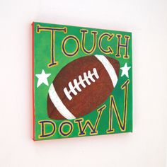 Original Painting, TOUCH DOWN FOOTBALL, 12x12 Acrylic Canvas Sports Themed Kids Decor.