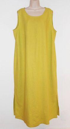 Linen Blend Maxi Dress 18W 20W 2X Sleeveless Lime Green Summer A-line Plus #2xMaxiDress #2XLinenDress #LimeGreen #PlusSize #SummerFashion