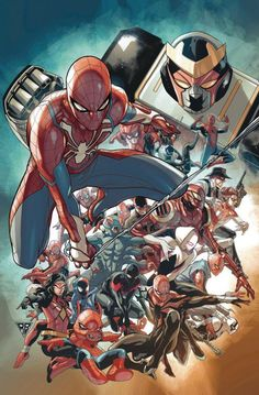 Spider-geddon R. Silva Variant Cover - - Ideas of - Spider-geddon R. Spiderman Kunst, Spiderman Spider, Amazing Spiderman, Marvel Fan, Marvel Dc Comics, Marvel Heroes, Spider Verse, Marvel Characters, Marvel Cinematic