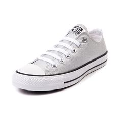 Shop for Converse Chuck Tayor All Star Lo Silver Sneaker, Silver Foil, at Journeys Shoes. A shining standout from the rest, this exclusive edition Chucks All Star Lo is available only at Journeys and features a metallic silver foil canvas upper and durable rubber Converse sole. Available only at Journeys and SHI!Please note that this shoe runs a half size large.Manufacturer style 146431F